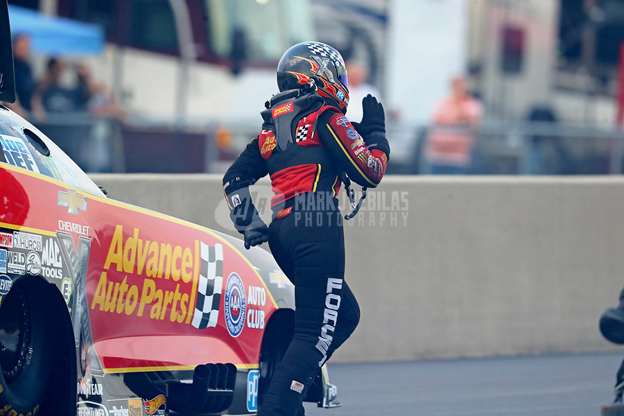 Jun 2, 2018; Joliet, IL, USA; NHRA funny car driver Courtney Force during qualifying for the Route 66 Nationals at Route 66 Raceway. Mandatory Credit: Mark J. Rebilas-USA TODAY Sports