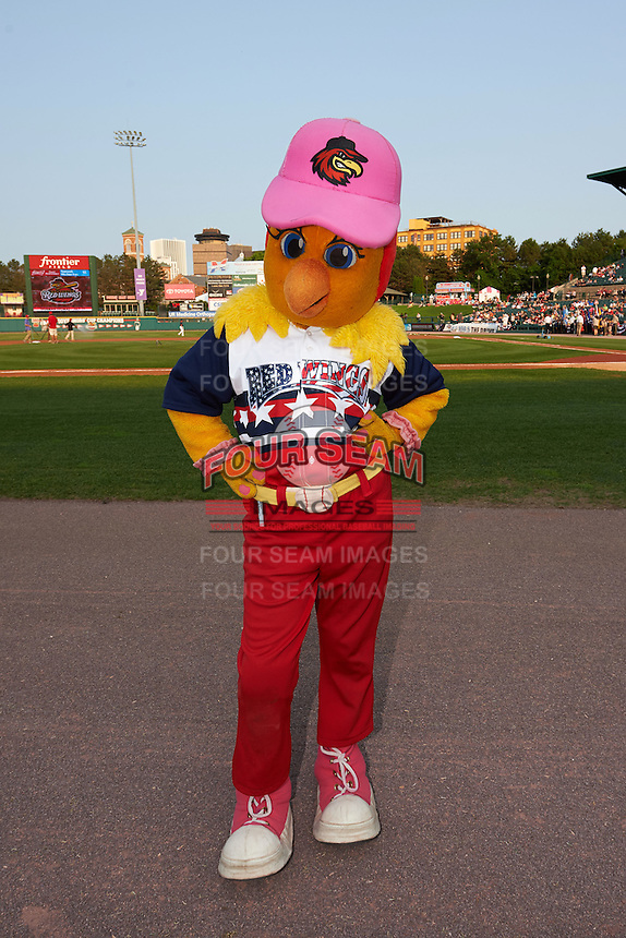 Rochester Red Wings mascot Mitsy before a game against the Lehigh Valley IronPigs on July 4, 2015 at Frontier Field in Rochester, New York.  Lehigh Valley defeated Rochester 4-3.  (Mike Janes/Four Seam Images)