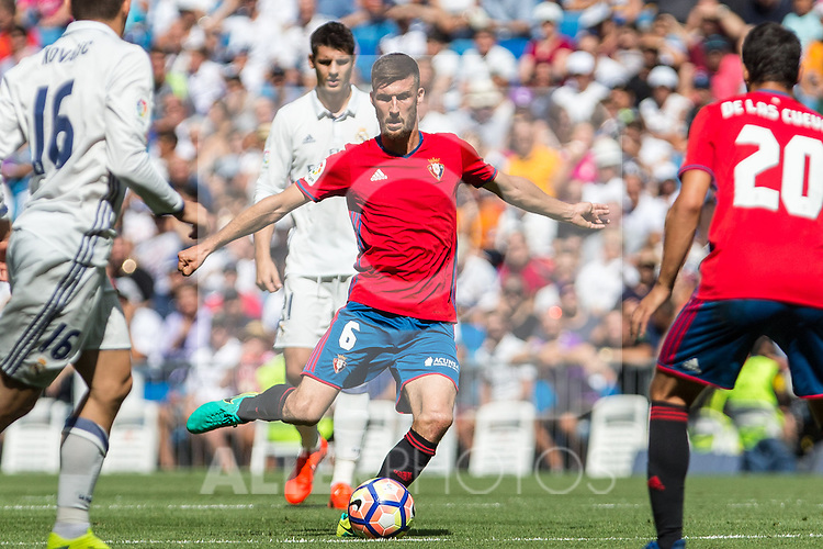 Club Atletico Osasuna's Oier Sanjurjo during the match of La Liga between Real Madrid and Club Atletico Osasuna at Santiago Bernabeu Estadium in Madrid. September 10, 2016. (ALTERPHOTOS/Rodrigo Jimenez)