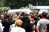 Pictured: The coffin of Marios Souloukos at his funeral the Acharnes Cemetery, Athens, Greece. Saturday 10 June 2017<br /> Re: An 11 year old boy has been shot dead by a &quot;stray bullet&quot; during a school celebration in Acharnes (Menidi) area, in the outskirts of Athens, Greece.<br /> Marios Dimitrios Souloukos &quot;complained to his mum&quot; who works as a teacher at the 6th Primary School of Acharnes that he was feeling unwell, he then collapsed with blood pouring out from the top of his head.<br /> His mum tried to revive him assisted by other teachers while his schoolmates who were reportedly upset, were hurriedly removed by their parents.<br /> According to locals an ambulance arrived 25 minutes late.<br /> Hundreds of police officers have been deployed in the area and have raided many properties.<br /> Shells matching the fatal bullet which hit the boy on the top of his head were found in a house yard nearby.<br /> Local people reported hearing shots being fired at a nearby Romany Gypsy camp before the fatal incident.<br /> The area has been plagued with criminality during the last few years.