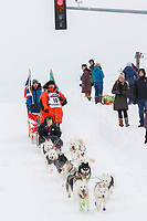 Rob Cooke on Cordova St. hill during the Anchorage start day of  Iditarod 2018<br /> <br /> Photo by Trent Grasse /SchultzPhoto.com  (C) 2018  ALL RIGHTS RESERVED