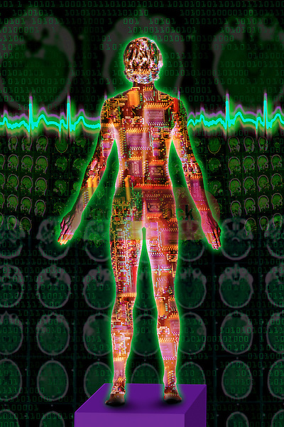 metaphoric composite photo illustration with icons of health including female figure with arms outstretched, heart monitor and brain scans