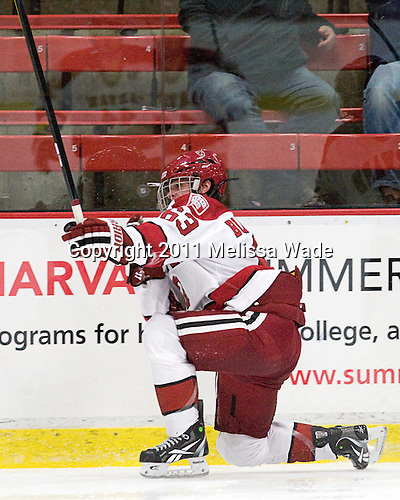 Colin Blackwell (Harvard - 63) - The Harvard University Crimson and Quinnipiac University Bobcats played to a 2-2 tie on Saturday, November 5, 2011, at Bright Hockey Center in Cambridge, Massachusetts.