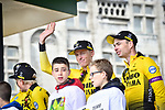 Robert Gesink (NED) and Team Jumbo-Visma at the team presentation before the start of the 105th edition of Li&egrave;ge-Bastogne-Li&egrave;ge 2019, La Doyenne, running 256km from Liege to Liege, Belgium. 27th April 2019<br /> Picture: ASO/Gautier Demouveaux | Cyclefile<br /> All photos usage must carry mandatory copyright credit (&copy; Cyclefile | ASO/Gautier Demouveaux)