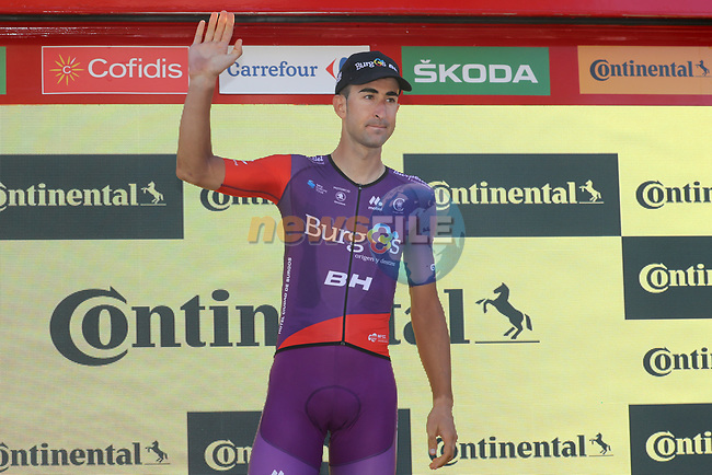 Diego Rubio Hernandez (ESP) Burgos-BH wins the day's combativity prize at the end of Stage 14 of La Vuelta 2019  running 188km from San Vicente de la Barquera to Oviedo, Spain. 7th September 2019.<br /> Picture: Luis Angel Gomez/Photogomezsport | Cyclefile<br /> <br /> All photos usage must carry mandatory copyright credit (© Cyclefile | Luis Angel Gomez/Photogomezsport)