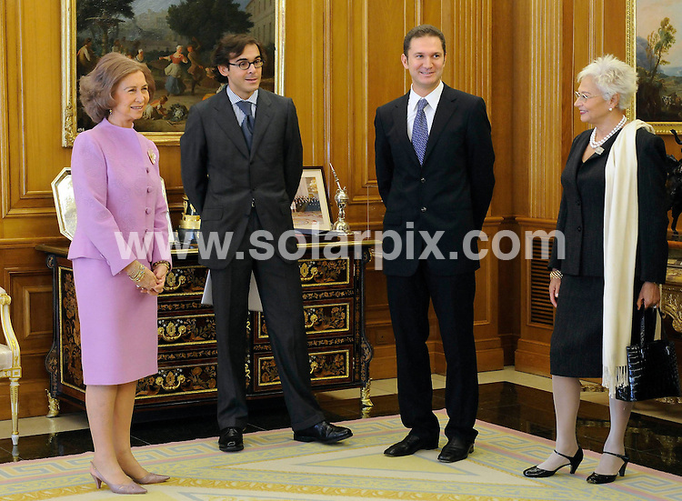 **ALL ROUND PICTURES FROM SOLARPIX.COM**.**WORDLWIDE SYNDICATION RIGHTS EXCEPT FOR SPAIN**NO PUBLICATION IN SPAIN**.Queen Sofia of Spain gives Spanish composer Gabriel Erkoreka the XXV Award for composition, in the presence of members from the Ferrer Salat Foundation which promotes contemporary classical music. Zarzuela Palace, Madrid, Spain. 5th November 2008..This pic: Queen Sofia and Gabriel Erkoreka..JOB REF:  7805 PTG (Picasso)        DATE: 05_11_2008.**MUST CREDIT SOLARPIX.COM OR DOUBLE FEE WILL BE CHARGED* *UNDER NO CIRCUMSTANCES IS THIS IMAGE TO BE REPRODUCED FOR ANY ONLINE EDITION WITHOUT PRIOR PERMISSION*