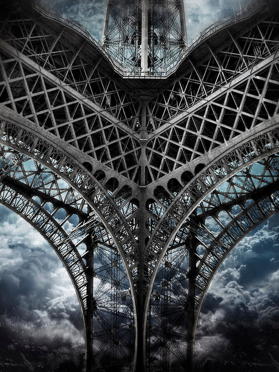 Eiffel Tower in Paris, France seems to be hit by a tornado