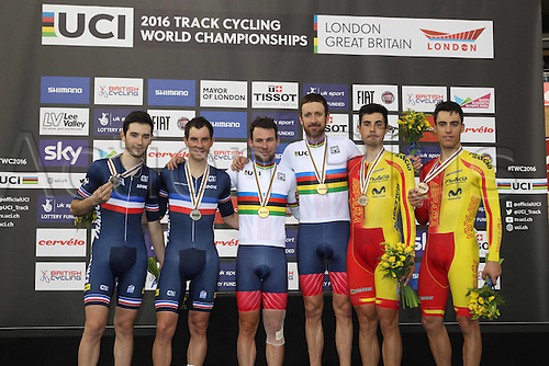 06.03.2016. Lee Valley Velo Centre, London England. UCI Track Cycling World Championships Mens Madison.  Podium pictures of teams show Team France  KNEISKY Morgan THOMAS Benjamin<br />