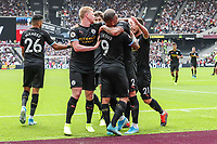 GOAL - Gabriel Jesus of Manchester City celebrates with team mates after he scores the opening goal during the Premier League match between West Ham United and Manchester City at the London Stadium, London, England on 10 August 2019. Photo by David Horn.