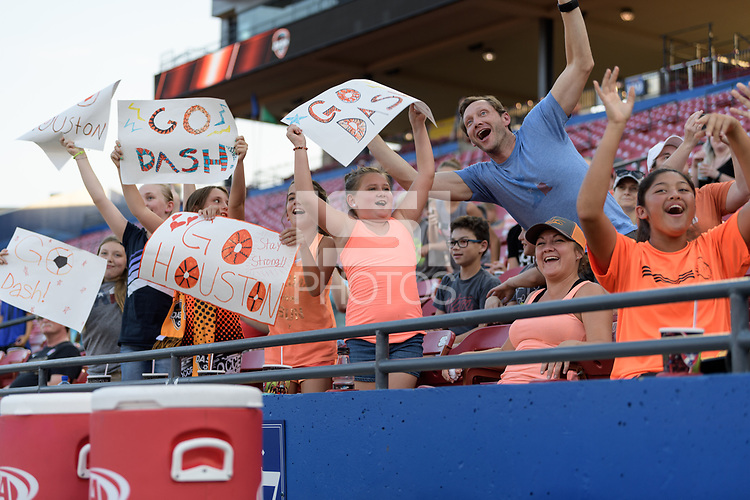 Frisco, TX - Sunday September 03, 2017: Fans during a regular season National Women's Soccer League (NWSL) match between the Houston Dash and the Seattle Reign FC at Toyota Stadium in Frisco Texas. The match was moved to Toyota Stadium in Frisco Texas due to Hurricane Harvey hitting Houston Texas.