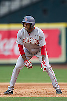 Houston Cougars outfielder Ashford Fulmer #23 leads off first base during the NCAA baseball game against the Texas Longhorns on March 1, 2014 during the Houston College Classic at Minute Maid Park in Houston, Texas. The Longhorns defeated the Cougars 3-2. (Andrew Woolley/Four Seam Images)