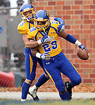 BROOKINGS, SD - OCTOBER 5:  Charles Elmore #29 from South Dakota State University celebrates a touchdown with teammate Andrew Brown #15 in the second quarter of their game against Southern Illinois Saturday afternoon at Coughlin Alumni Stadium in Brookings. Elmore returned the interception 89 yards for a touchdown. (Photo by Dave Eggen/Inertia)
