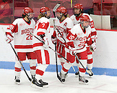 Louise Warren (BU - 28), Shannon Stoneburgh (BU - 7), Marie-Philip Poulin (BU - 29), Isabel Menard (BU - 20), Kaleigh Fratkin (BU - 13) - The Boston University Terriers defeated the Harvard University Crimson 5-2 on Monday, January 31, 2012, in the opening round of the 2012 Women's Beanpot at Walter Brown Arena in Boston, Massachusetts.