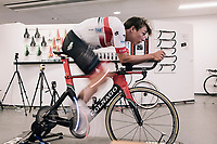 Jasper Philipsen (BEL/UAE-Emirates) in for a bikefit & osteo screening at the Wolf Performance centre in Leuven/Belgium at the start of his debut (as part of  a World Tour team) pro season (january 2019)<br /> <br /> bike fitter: Joris Verreydt <br /> osteo therapist: Frigyes Vanden Auweele<br /> <br /> ©kramon