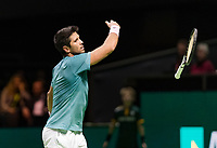 Rotterdam, The Netherlands, 14 Februari 2019, ABNAMRO World Tennis Tournament, Ahoy, Fernando Verdasco (ESP) throws his racket out of frustration,<br /> Photo: www.tennisimages.com/Henk Koster