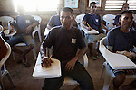 Inmates during an english lesson in the elementary school inside the priso compound, jan 2012.