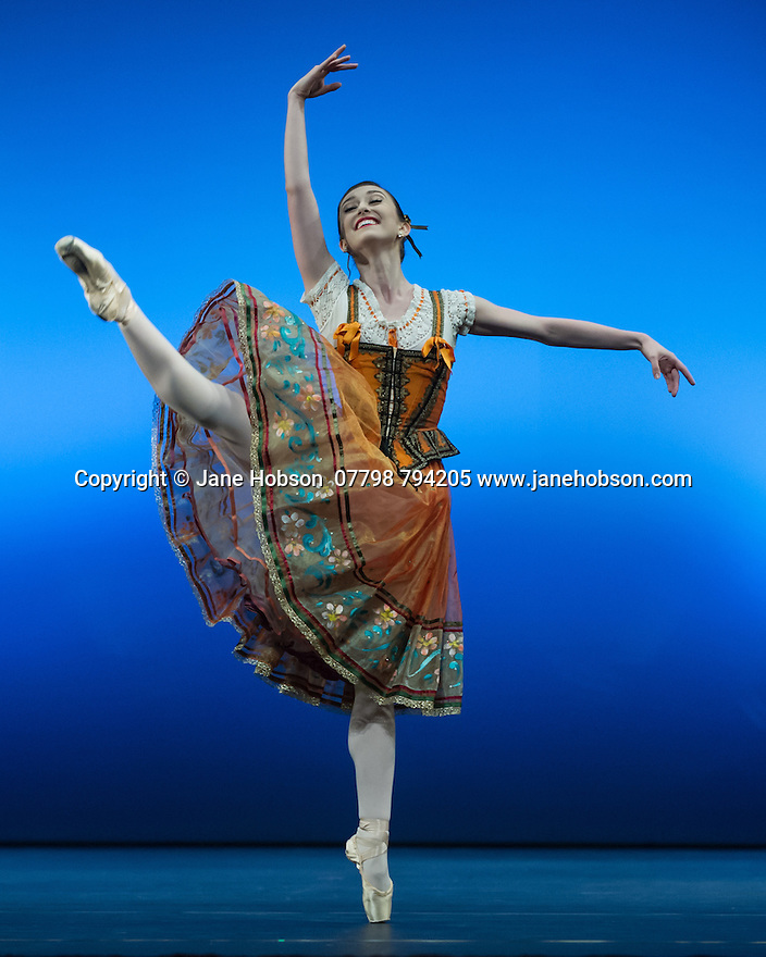 "London, UK. 19.05.2014. English National Ballet presents the final of EMERGING DANCER 2014, at the Lyceum Theatre in London's West End. Picture shows: Madison Keesler in ""Flower Festival"". Photograph © Jane Hobson."