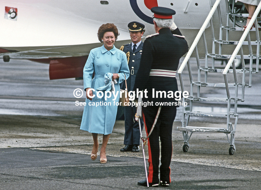 Princess Margaret is welcomed by Lord Glentoran, Lord Lieutenant of Belfast, at the start of her two day visit to N Ireland in June 1984.19840074PM5<br />