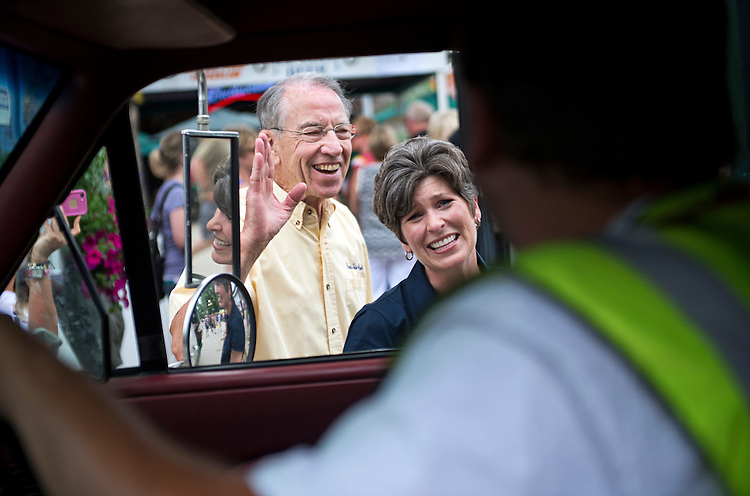 UNITED STATES - AUGUST 08: Joni Ernst, Iowa Republican Senate candidate, campaigns with Sen. Charles Grassley, R-Iowa, at the 2014 Iowa State Fair in Des Moines, Iowa, August 8, 2014. (Photo By Tom Williams/CQ Roll Call)