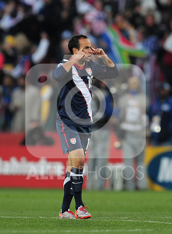 10 Landon DONOVAN after scoring a goal during the 2010 World Cup Soccer match between the USA and Slovenia played at Ellispark Stadium in Johannesburg South Africa on 18 June 2010.