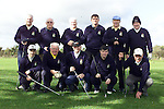 (Front Left to Right) Williw Clinton, John Keogh, Tom Murphy, Mick Creevey and Kevin Blount. (Back Left to Right) Willie Roche Captain, Archie Grimes, Dominic Halpin, maurice Swan, Duggie Boucher and Ronnie Nolan. Irish Pro Footballers Golf Society.Pic Fran Caffrey Newsfile.©Newsfile Ltd.