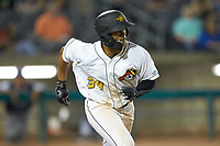Calvin Mitchell (34) of the West Virginia Power hustles down the first base line against the Lexington Legends at Appalachian Power Park on June 7, 2018 in Charleston, West Virginia. The Power defeated the Legends 5-1. (Brian Westerholt/Four Seam Images)