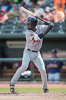 Bowling Green Hot Rods shortstop Lucius Fox (1) at bat against the Great Lakes Loons during the Midwest League baseball game on June 4, 2017 at Dow Diamond in Midland, Michigan. Great Lakes defeated Bowling Green 11-0. (Andrew Woolley/Four Seam Images)