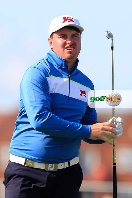 Thomas Sloman (GB&I) on the 2nd tee during Day 1 Singles of the Walker Cup at Royal Liverpool Golf CLub, Hoylake, Cheshire, England. 07/09/2019.<br /> Picture: Thos Caffrey / Golffile.ie<br /> <br /> All photo usage must carry mandatory copyright credit (© Golffile | Thos Caffrey)