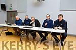 Barry Carey (IFA), Gda Bernard Geaney, Pat Dineen, Sgt Gary O'Carroll and Gda Gda Enda McEnerney address the Kilmoyley public meeting on Monday night at the community centre in Kilmoyley