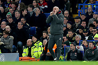 Arsenal Assistant Manager, Steve Bould, urges his team on in the absence of Manager, Arsene Wenger who was watching the match from the Press Box during Chelsea vs Arsenal, Caraboa Cup Football at Stamford Bridge on 10th January 2018