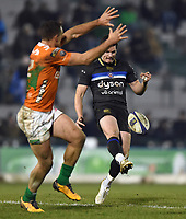 Freddie Burns of Bath Rugby puts boot to ball. European Rugby Champions Cup match, between Benetton Rugby and Bath Rugby on January 20, 2018 at the Municipal Stadium of Monigo in Treviso, Italy. Photo by: Patrick Khachfe / Onside Images