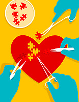 Stem cell jigsaw puzzle pieces mending heart