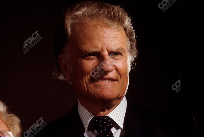 Reverend Billy Graham, American evangelist, at the National Religious Broadcasters Convention. Washington, D.C., February 1988