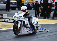 Jun. 1, 2012; Englishtown, NJ, USA: NHRA pro stock motorcycle rider Jerry Savoie during qualifying for the Supernationals at Raceway Park. Mandatory Credit: Mark J. Rebilas-