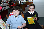 Dylan and Joy Mooney at Storytime in Drogheda Library as part of World Book Day....Photo NEWSFILE/Jenny Matthews.