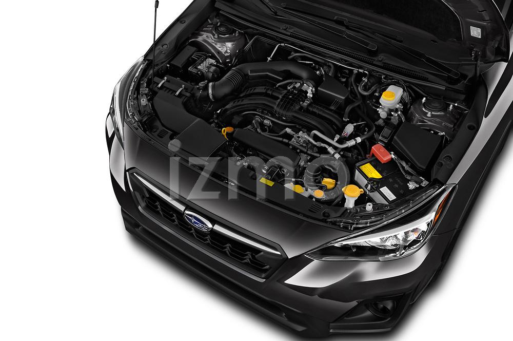 Car stock 2018 Subaru Crosstrek 4wd 5 Door SUV engine high angle detail view