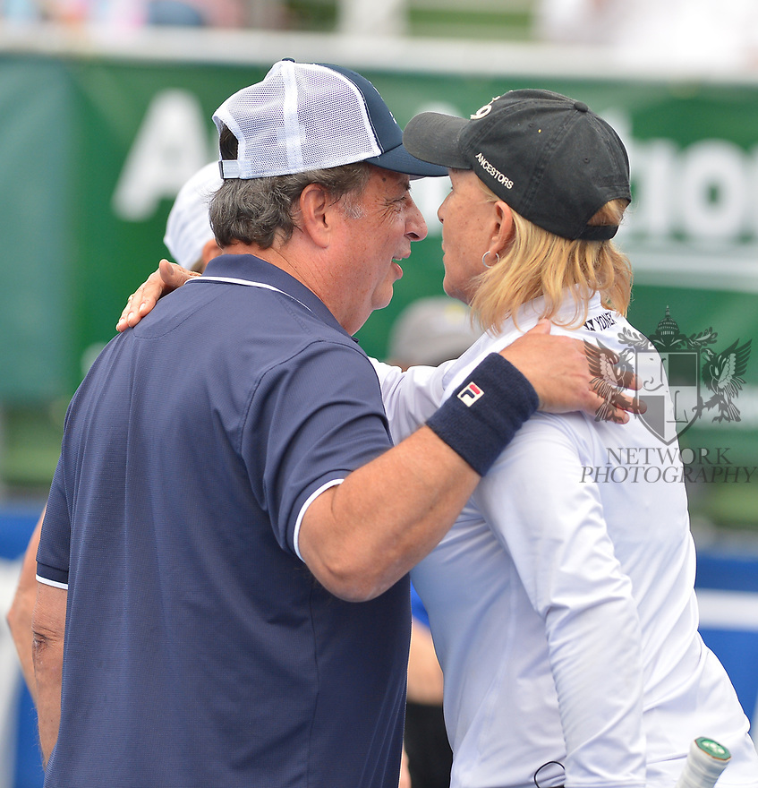 DELRAY BEACH, FL - NOVEMBER 24: Jon Lovitz and Martina Navratilova attend the 30TH Annual Chris Evert Pro-Celebrity Tennis Classic Day3 at the Delray Beach Tennis Center on November 24, 2019 in Delray Beach, Florida.  ( Photo by Johnny Louis / jlnphotography.com )