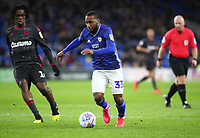31st January 2020; Cardiff City Stadium, Cardiff, Glamorgan, Wales; English Championship Football, Cardiff City versus Reading; Junior Hoilett of Cardiff City makes a run into the box as Cardiff City attack - Strictly Editorial Use Only. No use with unauthorized audio, video, data, fixture lists, club/league logos or 'live' services. Online in-match use limited to 120 images, no video emulation. No use in betting, games or single club/league/player publications