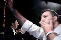 Roma, 26 settembre 2019<br /> Matteo Renzi a L'Aria che tira <br /> Nello schermo Matteo Salvini