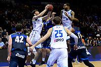GRONINGEN - Basketbal, Donar - Landstede Zwolle, Halve finale Beker, seizoen 2019-2020, 13-02-2020,  rebound van Donar speler Matt McCarthy met Donar speler Jason Dourisseau