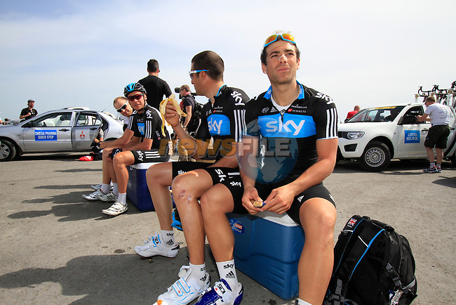 Sky Procycling team riders Davide Appollonio (ITA) and Juan Antonio Flecha (ESP) chill out before the start of Stage 4 of the 2012 Tour of Qatar from Al Thakhira to Madinat Al Shamal, Al Thakhira port Qatar, 8th February 2012 (Photo Eoin Clarke/Newsfile)