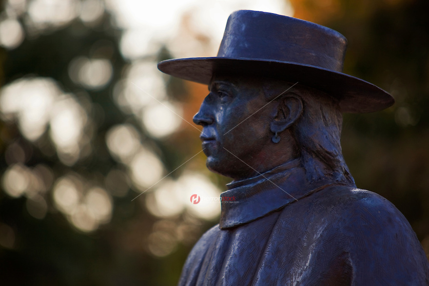 Close up of the Blues Guitar Legend Stevie Ray Vaughan Statue, Austin, Texas.