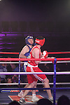 """Des Grant, """"Knuckles"""" (blue) sponsored by the Drogheda Leader and James Carroll """"Carroll The Conquerer"""" (red) sponsored by JK Office Furniture taking part in Drogheda and District, """"Battle of the Barbican"""" White Collar Boxing Event in aid of the Des Smyth Foundation...(Photo credit should read Jenny Matthews www.newsfile.ie)....This Picture has been sent you under the conditions enclosed by:.Newsfile Ltd..The Studio,.Millmount Abbey,.Drogheda,.Co Meath..Ireland..Tel: +353(0)41-9871240.Fax: +353(0)41-9871260.GSM: +353(0)86-2500958.email: pictures@newsfile.ie.www.newsfile.ie."""