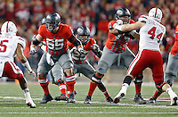 Ohio State Buckeyes offensive lineman Pat Elflein (65), Ohio State Buckeyes running back Mike Weber (25) and Ohio State Buckeyes offensive lineman Michael Jordan (73) against Nebraska Cornhuskers in their game at Ohio Stadium on November 5, 2016.  (Kyle Robertson / The Columbus Dispatch)