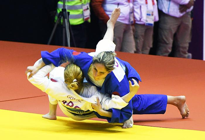 Priscilla Gagne competes in Para Judo at the 2019 ParaPan American Games in Lima, Peru-24aug2019-Photo Scott Grant