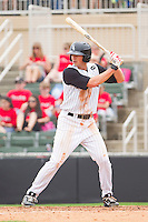 Ryan Hamme #14 of the Kannapolis Intimidators at bat against the West Virginia Power at Fieldcrest Cannon Stadium on April 20, 2011 in Kannapolis, North Carolina.   Photo by Brian Westerholt / Four Seam Images