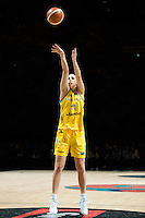 Melbourne, 15 August 2015 - Laura HODGES of Australia takes a free throw in game one of the 2015 FIBA Oceania Championships in women's basketball between the Australian Opals and the New Zealand Tall Ferns at Rod Laver Arena in Melbourne, Australia. Aus def NZ 61-41. (Photo Sydney Low / sydlow.com)