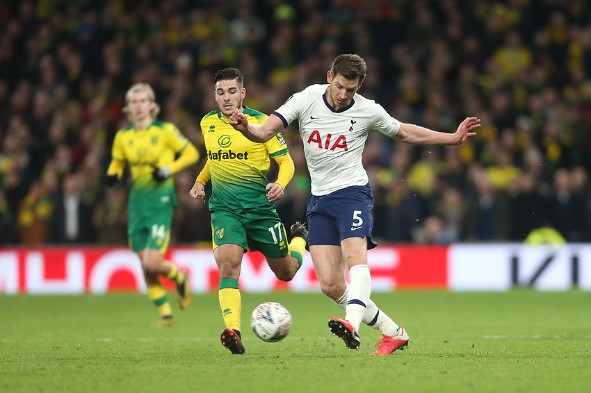 Tottenham Hotspur's Jan Vertonghen and Norwich City's Emi Buendia<br /> <br /> Photographer Rob Newell/CameraSport<br /> <br /> The Emirates FA Cup Fifth Round - Tottenham Hotspur v Norwich City - Wednesday 4th March 2020 - Tottenham Hotspur Stadium - London<br />  <br /> World Copyright © 2020 CameraSport. All rights reserved. 43 Linden Ave. Countesthorpe. Leicester. England. LE8 5PG - Tel: +44 (0) 116 277 4147 - admin@camerasport.com - www.camerasport.com