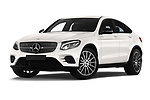 Stock pictures of low aggressive front three quarter view of a 2018 Mercedes Benz GLC Coupe base 5 Door SUV
