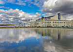 Seattle Washington:<br /> Museum of History and Industry and pond reflections at Lake Union Park